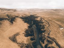 Icelandic panoramas, aerial view on the lands stock image
