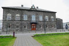 Icelandic parliament building in reakjavik Stock Photos