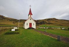 Icelandic red chapel Royalty Free Stock Images