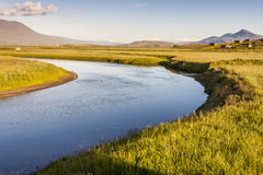Icelandic river in background  varmahlio village. Royalty Free Stock Photo