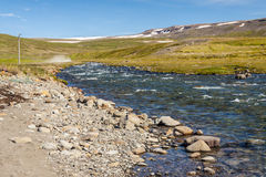 Icelandic river in Unadsdalur. Royalty Free Stock Photo