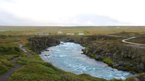 Icelandic River Valley. Rushing water through a rocky river valley on a dreary day Stock Photo