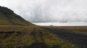 Icelandic road. A beautiful dirty road in the wild nature in Iceland Stock Photos