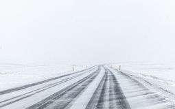 Icelandic road covered with snow Stock Image