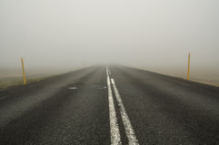 Icelandic road in fog Royalty Free Stock Photo