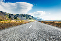 Icelandic road with mountain view. Stock Images