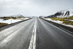 Icelandic road perspetive, rural landscape Royalty Free Stock Images