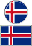 Icelandic round and square icon flag. Vector Royalty Free Stock Images