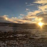icelandic solnedgång Arkivfoto