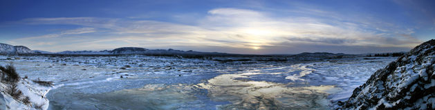 Icelandic Sunrise. Sunrise over a snow-covered, barren Icelandic landscape Royalty Free Stock Photo
