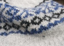 Icelandic Sweater/Hat Texture. Closeup of blue and black Icelandic pattern on a hat Stock Photos