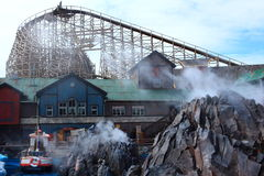 Icelandic themed scenery with wooden coaster Royalty Free Stock Images