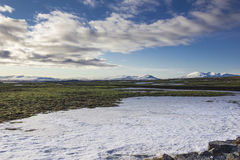 Icelandic tundra with snow Stock Images