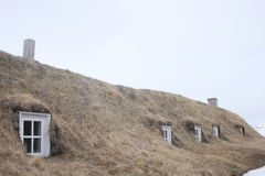 Icelandic turf house windows. Turf house windows in long valley near Husavik Iceland in 2013 royalty free stock photo
