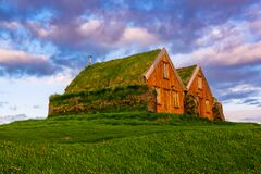 Free Icelandic Turf Houses Royalty Free Stock Image - 207921606