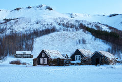 Icelandic turf houses at dawn in winter. Stock Image