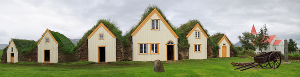 Icelandic turf houses Royalty Free Stock Photo