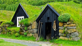 Icelandic turf houses Royalty Free Stock Images