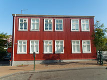 Icelandic urban architecture. Red facade house in Reykjavik, typical icelandic urban architecture Royalty Free Stock Images