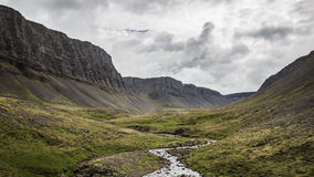 An Icelandic valley. In Vestfirdir stock photo