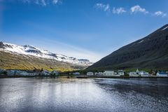 Icelandic village: Seydisfjordur. Seydisfjordur is small and beautiful village in the Eastfjords of Iceland Stock Photography