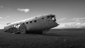 Icelandic Vintage Plane Crash. Lost vintage DC3 plane crash on wild Icelandic black sand beach Royalty Free Stock Photos