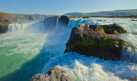 Icelandic waterfall in iceland, Godafoss, beautiful vibrant summer panorama picture view Royalty Free Stock Images