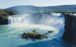 Icelandic waterfall in iceland, Goddafoss, beautiful vibrant summer panorama picture view. Beautiful vibrant summer panorama picture with a view on icelandic Royalty Free Stock Photos