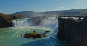 Icelandic waterfall in iceland, Goddafoss, beautiful vibrant summer panorama picture view Stock Photo