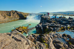 Icelandic waterfall in iceland, Goddafoss, beautiful vibrant summer panorama picture view Stock Photos