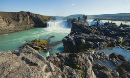Icelandic waterfall in iceland, Goddafoss, beautiful vibrant summer panorama picture view Royalty Free Stock Images