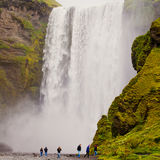Icelandic waterfall in iceland, Skogafoss, beautiful vibrant summer panorama picture view Stock Photography