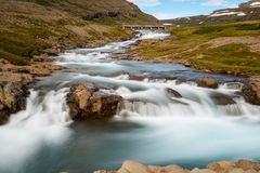 Icelandic waterfall at a landschap in summertime Stock Photography