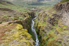 Icelandic waterfall at a landschap in summertime Stock Photo