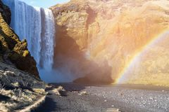 Icelandic waterfall with rainbow royalty free stock photography