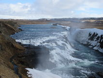 Icelandic waterfall in the spring Stock Images