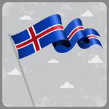 Icelandic wavy flag. Vector illustration. Royalty Free Stock Image