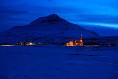 Icelandic winter landscape  at dusk. Royalty Free Stock Photo
