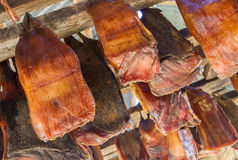 Icelands fermented shark. At Bjarnarhofn Shark Museum drying house, Iceland Stock Images