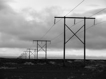 Icelnadic landscape with typical power lines Stock Image