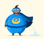 Iceman. Incredible superhero. Cartoon vector illustration. Mr. Freezer. Fat body. Person in cloak. Justice and help. For banners and posters. Good man. Hero Royalty Free Stock Photo