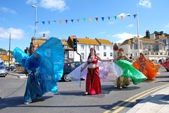 Iceni Tribal Dancers, Hastings stock image