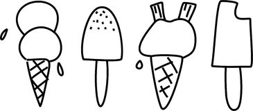 Ices. Simple line icon collection of ice cones and lollies isolated on white Royalty Free Stock Photography