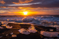 Ices on the beach at Jokulsarlon in southeast Iceland. Jokulsarlon is a large glacial lake in southeast Iceland, on the edge of Vatnajökull National Park Royalty Free Stock Photography