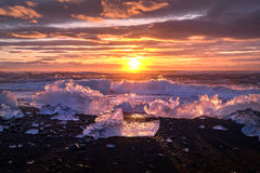 Ices on the beach at Jokulsarlon in southeast Iceland. Jokulsarlon is a large glacial lake in southeast Iceland, on the edge of Vatnajökull National Park Royalty Free Stock Photos