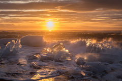 Ices on the beach at Jokulsarlon in southeast Iceland. Jokulsarlon is a large glacial lake in southeast Iceland, on the edge of Vatnajökull National Park Stock Images
