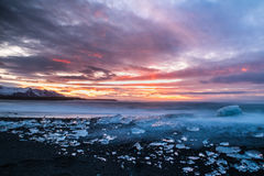 Ices on the beach at Jokulsarlon in southeast Iceland. Jokulsarlon is a large glacial lake in southeast Iceland, on the edge of Vatnajökull National Park Royalty Free Stock Image