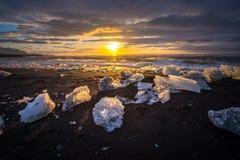 Ices on the beach at Jokulsarlon in southeast Iceland Stock Photos