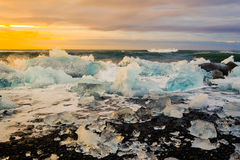 Ices on the beach at Jokulsarlon in southeast Iceland Stock Photography