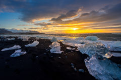 Ices on the beach at Jokulsarlon in southeast Iceland Royalty Free Stock Image